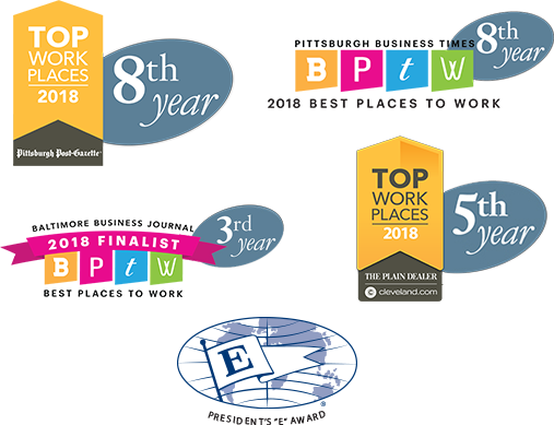 Pittsburgh Post Gazette Top Work Places - 2018 (8th Year), PBT Best Places to Work (8th Year), BBJ Best Places to Work (2nd Year), Cleveland Plain Dealer Top Work Places 2018 (4th Year), Presidents 'E' Award